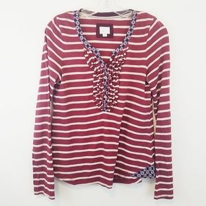 Anthropologie Postage Stamp Ruffled Layered Top S